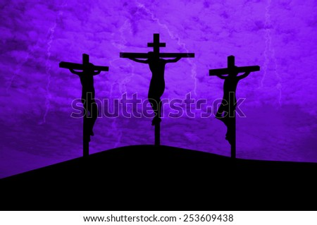 Three crosses -Jesus Christ crucified - stock photo