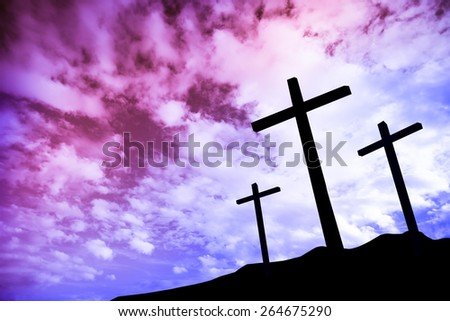Three crosses on a hill - stock photo