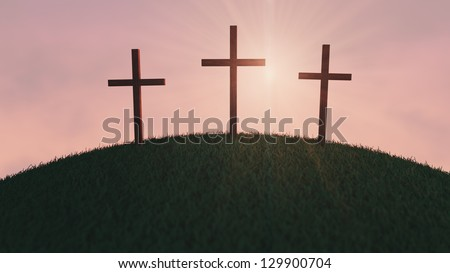 Three Crosses on a hill at sunrise. - stock photo