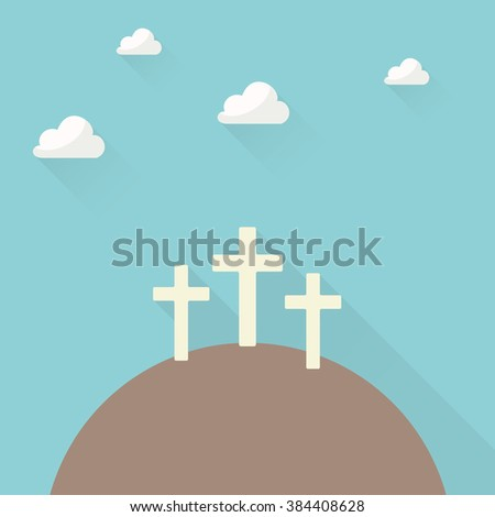 three crosses on a hill in flat style