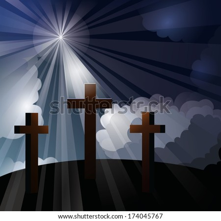 Three crosses on a hill with bright light rays shining through blue and white clouds onto the middle cross, representing the crucifixion of Christ.