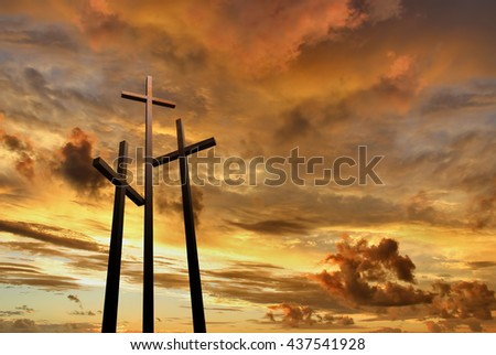 Three crosses on the mountain Golgotha representing the day of Christ crucifixion  - stock photo