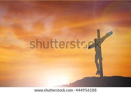 Three crosses on top mountain with the sunset. clouds sky concept victory lord life pain light god cross xmas  mercy death praise bible risen space reborn easter worship agape Blessing gospel prayer - stock photo