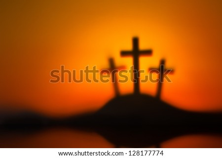 Three crosses symbolic for Jesus crucifixion in Golgotha - stock photo