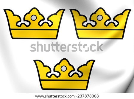 Three Crowns. National Emblem of Sweden.      - stock photo