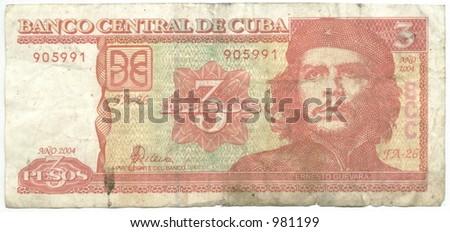 three cuban non convertible pesos - stock photo