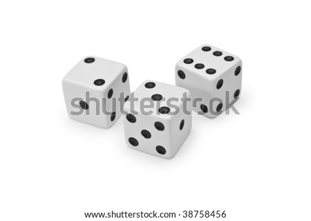 Three cubes for dicing on a white background