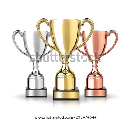 Three cup trophies, gold, silver and bronze. Isolated on white background  - stock photo