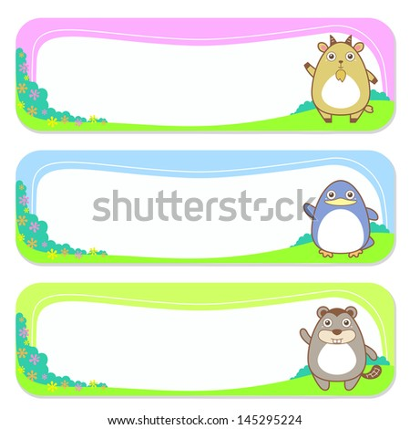 three cute animals set of banner elements