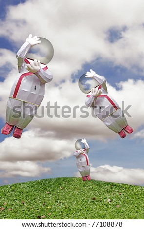 Three cute man with a glass bubble head holding a power plug while floating across a green grassy meadow on a beautiful blue cloudy sky. - stock photo