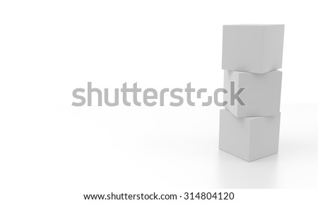 Three 3d blank concept boxes on top of each other, isolated on white background. Rendered illustration.
