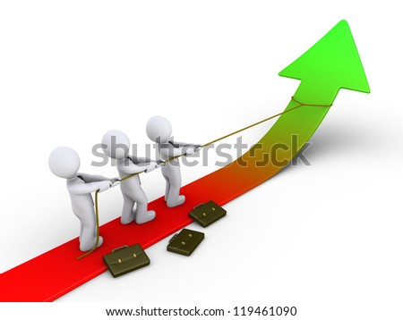 Three 3d businessmen are pulling arrow upwards with rope - stock photo