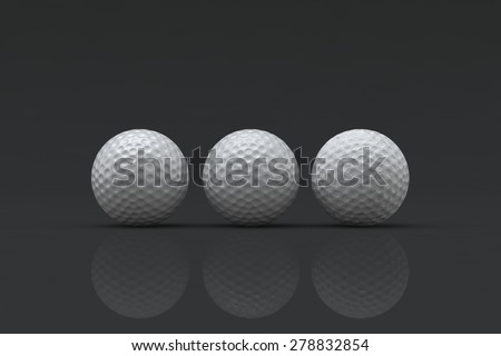Three 3D golf balls in various stages of damage on a black background.