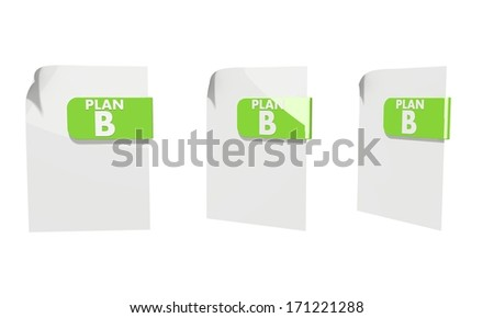 three 3d icons of a file plan b documents in various perspective isolated on white background - stock photo
