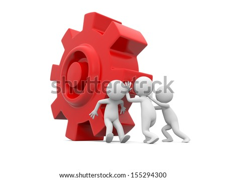 Three 3d man, people, person pushing red gear - stock photo