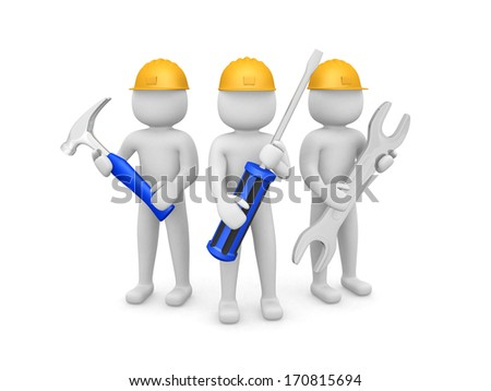 Three 3d man - people with the tools in the hands of. 3d image. Isolated white background.