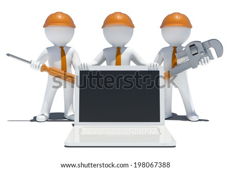 Three 3d people with tools and laptop. Isolated on white background - stock photo
