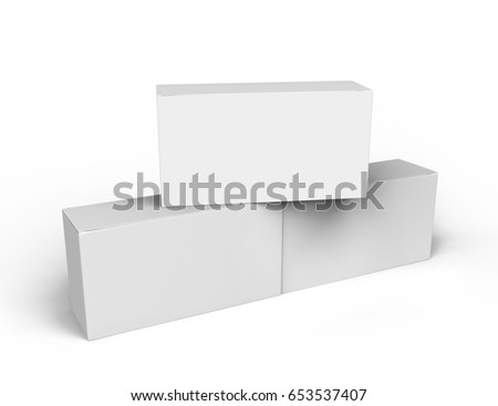 three 3d rendering blank boxes, isolated white background
