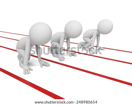 Three 3d small people on a starting line. 3d image. Isolated white background. - stock photo