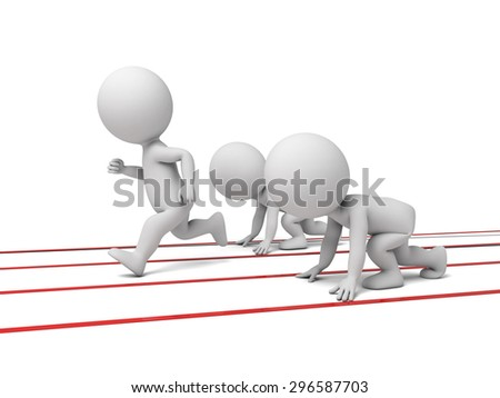 Three 3d small people on a starting line. 3d image. Isolated white background.