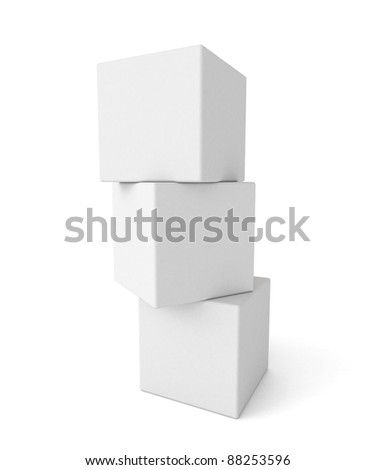 three 3d white cubes ready for next design - stock photo