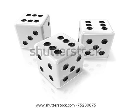 three 3D white win dices isolated on white - stock photo