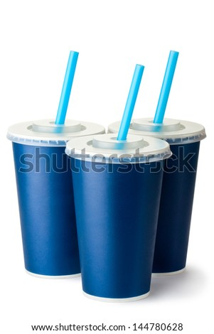 Three dark blue cardboard cups with a straws. Isolated on a white. - stock photo