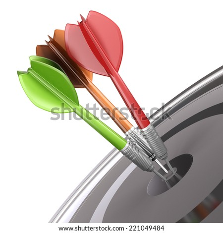 Three darts hitting the center of a dartboard over white background, modern design for illustration purpose. Concept of marketing strategy or business communication.  - stock photo