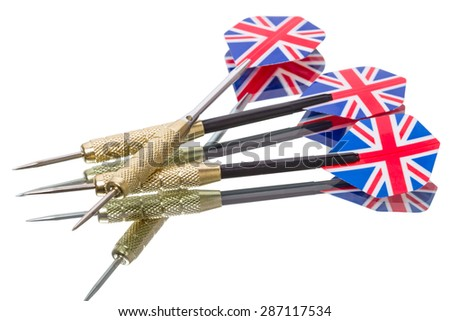 Three darts  isolated on white background
