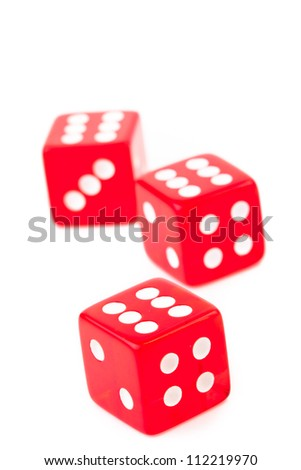 Three dices against a white background - stock photo