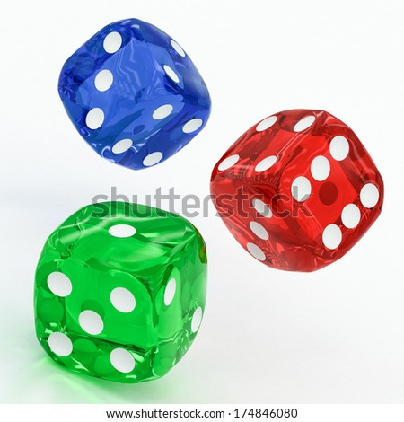 three dices falling on a white background