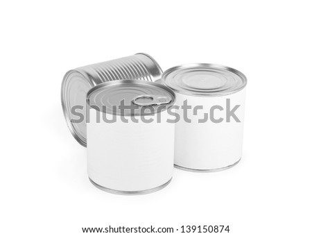 Three different canned food  cans isolated on white. - stock photo