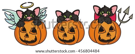 three different cat in pumpkins - angel, devil and an ordinary cat - stock photo