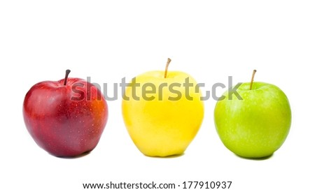three different colorful apples on white background with space for text