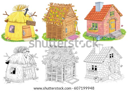 Three Different Cute Houses A Straw Hut House Made Of Sticks And