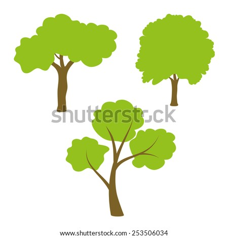 Three different green tree set on white background - stock photo