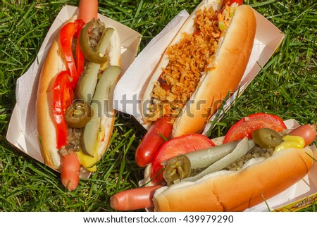 Three different hot dogs at a picnic on the grass - stock photo