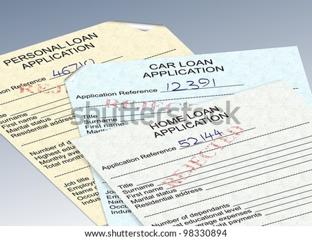 three different loan applications with a red rejected stamp / rejected loan applications - stock photo