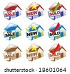 Three different sets and colors of house icons to use. - stock photo