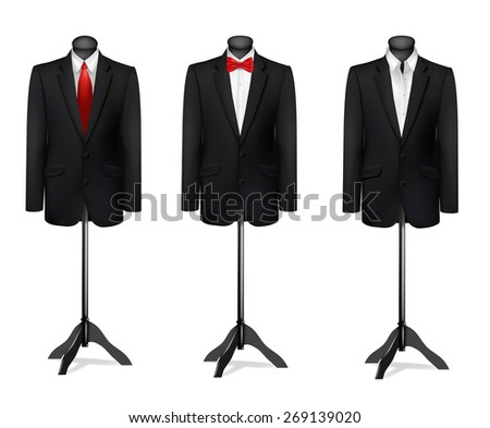 Three different suits on mannequins.  - stock photo