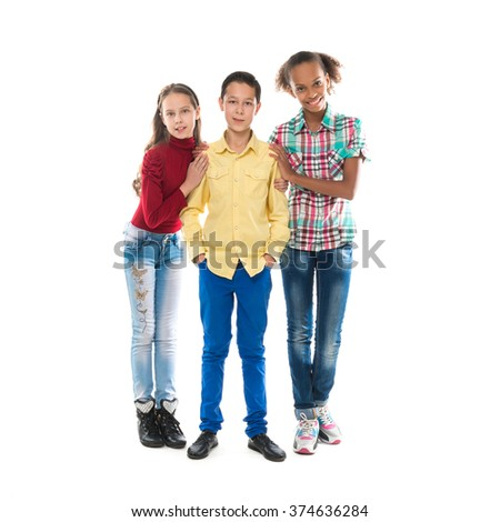 three different tenage friends standing together isolated on white background