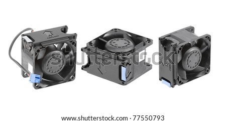 Three different views at the black plastic cooling fan used in personal computers or low-end server systems. Isolated on white. - stock photo