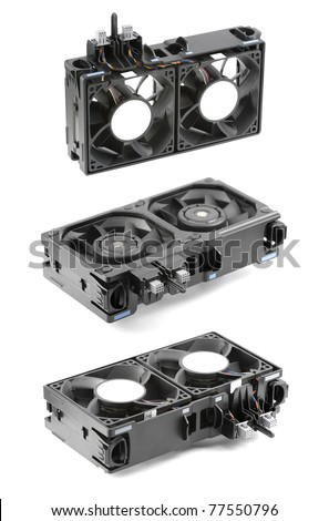 Three different views at the two powerful cooling fans in a dual-fan bracket, often used in mainstream server systems. Isolated on white.