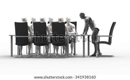 Three dimensiona 3d human business meeting and education deal discuss. Government meeting in the Cabinet. Presentation of the new product. Meeting at the business forum. - stock photo