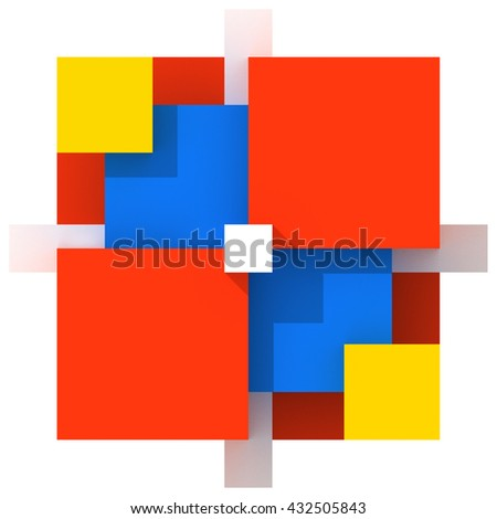 Three-dimensional abstract geometric architectural composition. Rendered image of 3D model. Modern sculpture receive shadows. Structure made of colored cubes: yellow, red and blue. White background.