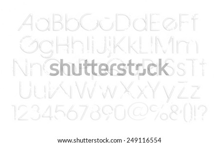 Three-dimensional alphabet with digits number. 3d font characters. Uppercase and lowercase - stock photo