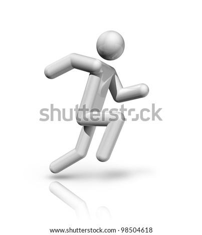 three dimensional athletics symbol, sport series - stock photo