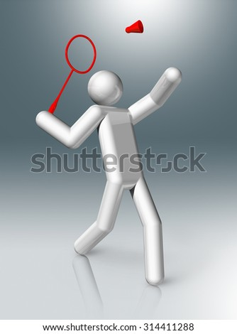 three dimensional badminton symbol - stock photo