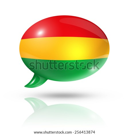 three dimensional Bolivia flag in a speech bubble isolated on white with clipping path - stock photo