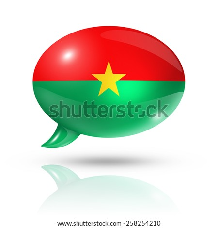 three dimensional Burkina Faso flag in a speech bubble isolated on white with clipping path - stock photo